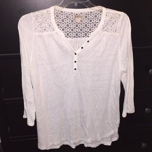 Lucky Brand Lace 3/4 Sleeve Blouse